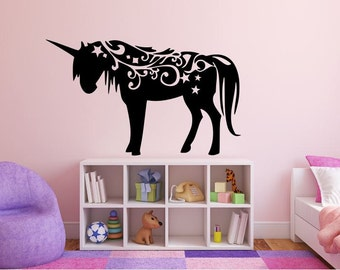 "Unicorn Wall Decal - 27"" x 45"" Unicorn Silhouette Vinyl Decal - Unicorn 5"