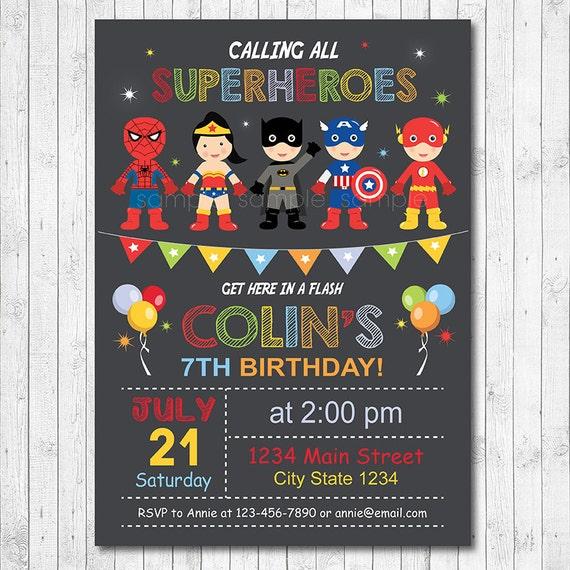 Carte d 39 invitation anniversaire super h ros zeeep web - Carte anniversaire super heros ...