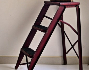 Industrial metal stepladder vintage French
