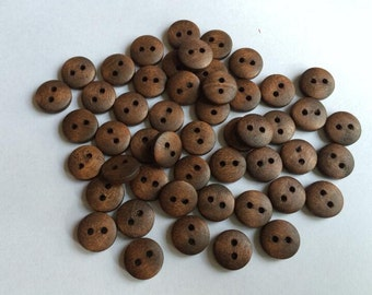 50 Pcs 12mm Brown / Coffee Wood button 2 holes   (NW044)