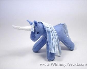 Miniature Blue Felt Toy Unicorn