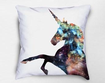Unicorn Throw Pillow, Unicorn Pillow, Galaxy Pillow, Nebula Space Pillow, Unicorn Decor, Unicorn Nursery, Unicorn Gift, Unicorn Pillow Cover