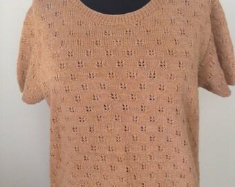 Pull handmade, wool, short sleeve, vintage 60