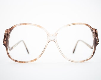 Vintage Eyeglass Frame | Clear Brown Fade | Oversize Rounded Glasses | 70s Deadstock  - Riga 1