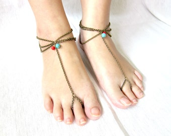 Anklet Toe Ring, Barefoot Sandals, Footwear, Foot slave with Beads Stone and Antique Brass Chain Adjustable Feet Accessories JA1029
