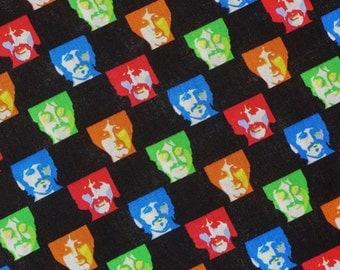 Beatles Fabric / Neon on Black Andy Warhol Style / Beatles Faces / OOP / By the Half Yard
