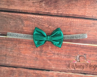Green and Silver Headband, Holiday Headband, Christmas Headband, Christmas Bow, Green Bow Headband, Green Bow, Silver and Green, Headband