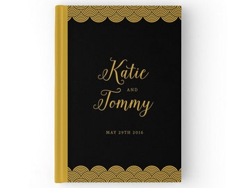 Black and Gold Wedding Guest Book. Gatsby Inspired Wedding guestbook. Glam and Luxurious. Personalized Guestbook.