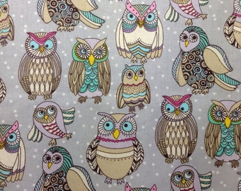 One Half Yard of Fabric Material - Funky Owls
