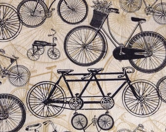 One Half Yard of Fabric Material - Bicycle Collage