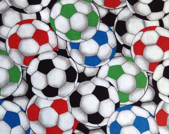 One Half Yard of Fabric Material - Packed Soccer Balls