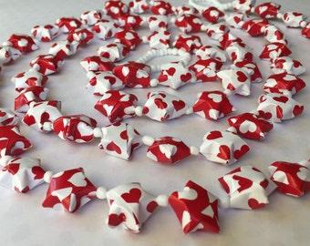 Valentine Heart Origami Star Garland with White Beads