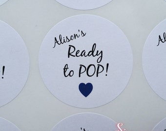 24 x Ready to Pop! Personalised Baby Shower Favor Matte White Stickers