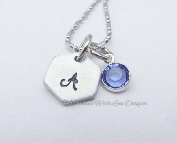 Small Hex initial Pendant, with Crystal Handstamped, Personalised,