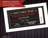 Lights Camera Action! or Lights Camera Auction! PRINTABLE Raffle Ticket Fundraiser Business Card Size, Fit 10 on a page, DIY Movie Ticket