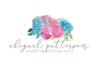 Watercolor Business Logo, watercolor design, photography, watermark, painted, floral - Newborn photography logo, maternity, flowers