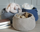 Beige basket  storing basket  nursery basket  crochet basket  storing toys  nursery decor  laundry basket