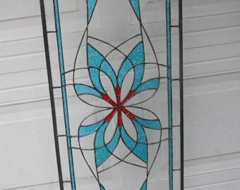 """Teal """"Over Ocean Waves"""" Stained Glass Panel - Wedding Gift, House Warming, Holiday Gift"""