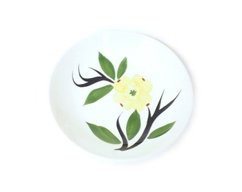 """Dixie Dogwood 9"""" Vegetable Bowl 1950s Joni China Dish Mid Century Floral Decor Serving Dishes Vintage Pottery Dinnerware Hand Painted Flower"""