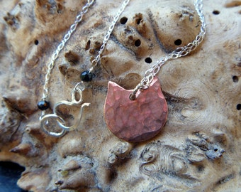 """Sterling silver & copper kitty cat necklace // 16"""" chain // mixed metal"""