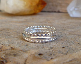Sterling silver stacking ring set - made to order
