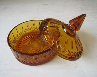 Vintage Candy Dish, Amber Indiana Glass, Lidded/Covered Dish