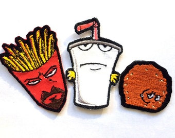 Individual or Set, Master Shake, Frylock, Meatwad,  Embroidered Iron-on Patch