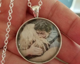 The 100- Bellarke hug glass cabochon pendant or keychain- Bellamy Blake and Clarke Griffin