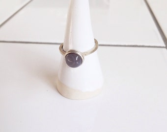 silver ring with botswana agate in settings