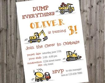 Construction Truck Birthday Invitation Dump Truck Bulldozer Excavator Construction Invite 3rd Birthday Party Boy Thank You Simple Modern