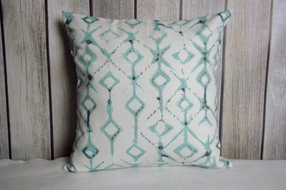 Pillow Cover. Pillow. Throw Pillow. Cushion. Decorative Pillow.  aqua blue white and tan contemporary modern home decor