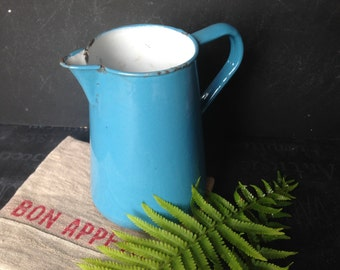 Medium enamel ware pitcher blue and white French farmhouse cottage style vintage 1940s from MilkweedVintageHome