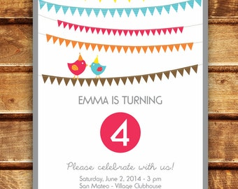 Bunting Flags Birthday Party Invitation