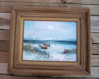 Vintage H. Gailey Ocean Painted row boats in the ocean art with Frame