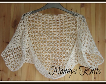 White Cotton Slub Shrug size 8-10