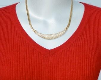 Roman Rhinestone Focal Necklace Vintage