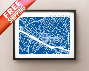 Central Florence Map Art Print - Choose your color