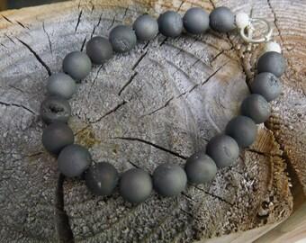 Titanium Coated Druzy Quartz Bracelet/Grey Quartz Matte/Natural Stone Bracelet/Unique Bracelet/Gift for her/Dark Grey Bracelet/Silver 925