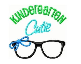 Kindergarten Cutie Glasses with Bow Embroidery Design -INSTANT DOWNLOAD-