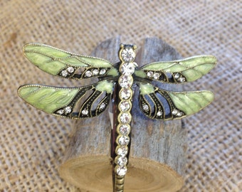 Light sage green dragonfly hair clip