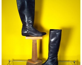 Vintage Black Leather Riding Boots, Size 6.5