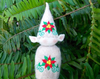 Elf Ornament ~ Decoration ~ Christmas ~ Holiday Stuffed Oatmeal Felt With Red & Green Poinsettia
