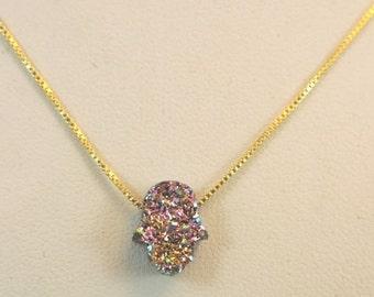 Druzy Opal Hamsa on Goldfilled chain