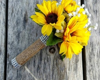 Mini Bridesmaid bouquet with Sunflowers and baby's breath, Sunflower bouquet, miniature bridesmaid bouquet, miniature sunflower bouquet