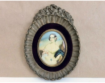 Vintage Framed Print / Small Oval Frame / Isabella Montgomery / Cameo Creation / Victorian Lady / George Romney