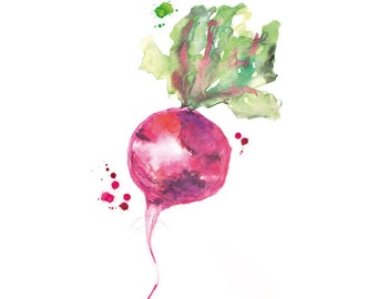 Kitchen Wall Art, Watercolor Beet Painting, Vegetable print, Kitchen Decor, Botanical Art, Food Poster, Kitchen Print