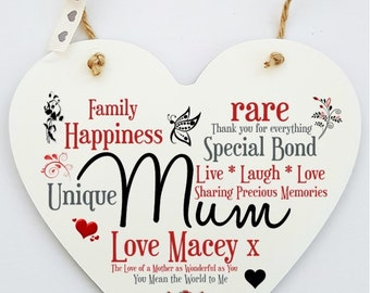 Personalised Mum Hanging Heart Sign Plaque.