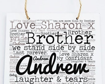 Personalised Brother Word Art Wooden Hanging Plaque.