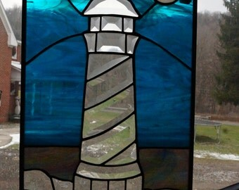 Stained Glass Beveled Light House Panel