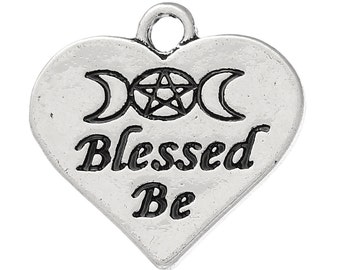 "10 Charms for Pagan Celtic Wicca Jewellery Crafts ~"" Blessed Be "" Charms Exclusively Designed"